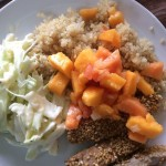 ahi with quinoa and coleslaw